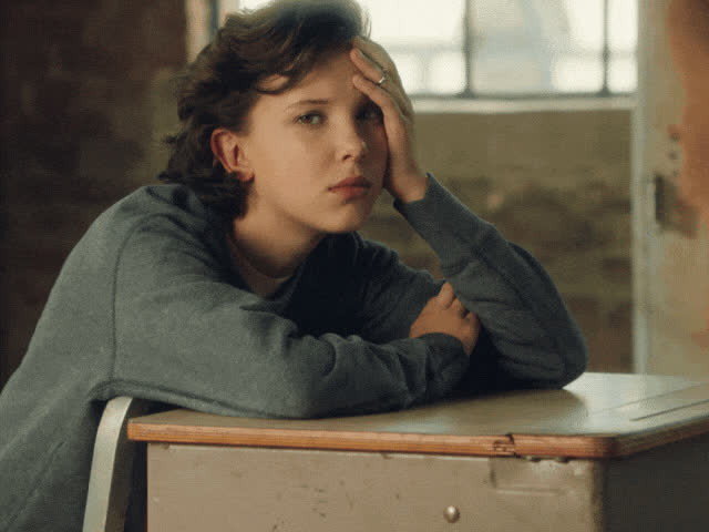 annoyed, bobby, bored, boring, brown, class, eleven, god, millie, my, oh, omg, school, stranger, things, Bored Millie GIFs