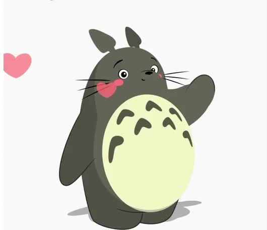 I, I love you, animation, anime, cartoon, cute, fluffy, heart, hearts, japanese, kiss, kisses, love, positive, send, sweet, totoro, vibes, you, Kisses and hearts GIFs
