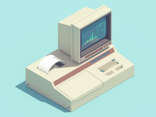 gif Illustration computer vintage animation retro 3D loop c4d isometric GIFs