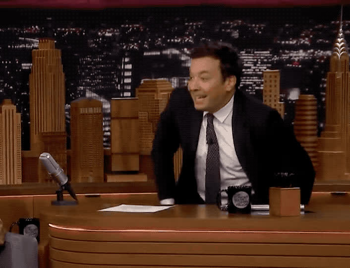 balance, chair, disappear, dizzy, drunk, epic, fall, fallon, funny, hilarious, imitate, jimmy, lol, lose, no, oops, pretend, show, tada, tonight, Jimmy falls from the chair GIFs