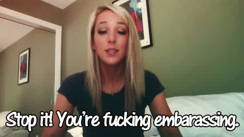 embarrassed, jenna marbles, stop, stop it, Embarrassed GIFs