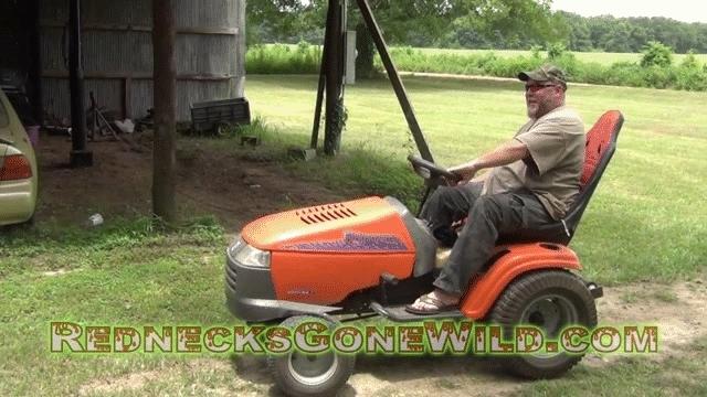 RedneckGifs, redneckgifs, Lawnmower Wheelie (1 more in comments) (reddit) GIFs