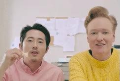 Watch this trending GIF by Reaction GIFs (@sypher0115) on Gfycat. Discover more Conan O'Brien, ConanO'Brien, Steven Yeun, celeb_gifs, latenight GIFs on Gfycat