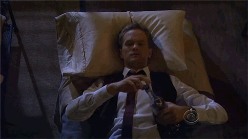 gfycatdepot, Laying in bed drinking the bottle till the last drop. Finished. [How I Met Your Mother HIMYM Barney Stinson NPH Neil Patrick Harris relax night drink away your sorrows] (reddit) GIFs