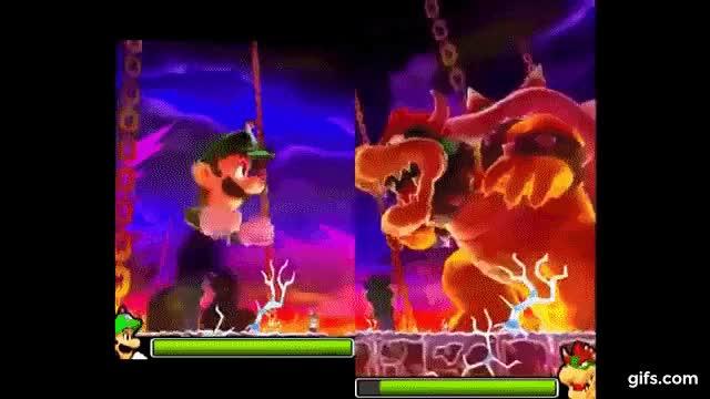 Mario And Luigi Dream Team Giant Bowser Battle Gif By