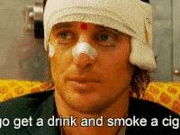 Watch and share Owenwilson, Drink, Smoke, Cigarette, Injured GIFs on Gfycat