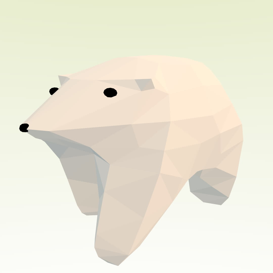 animals, bear, bears, cute, fun, low-poly, polar bear, Low-Poly Polar Bear GIFs