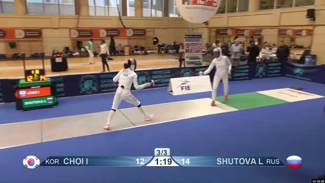 Watch CHOI I 13 GIF by Scott Dubinsky (@fencingdatabase) on Gfycat. Discover more gender: female, leftname: CHOI I, leftscore: 13, rightname: SHUTOVA L, rightscore: 15, time: 00010543, touch: double, tournament: barcelona2019, weapon: epee GIFs on Gfycat