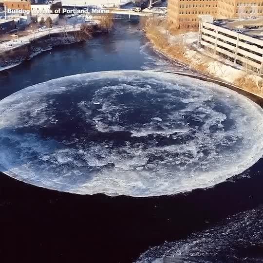 Watch and share 미국 웨스트브룩 강에서 형성된 거대한 원형 얼음판 GIFs on Gfycat