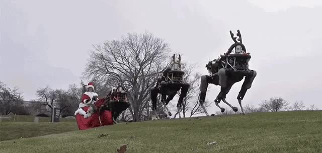 Watch Boston Dynamics' Robo-Dogs Pulling a Sleigh. GIF on Gfycat. Discover more related GIFs on Gfycat