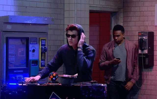 dj stitches, party, shawn mendes, the late late show, Shawn Mendes - DJ Stitches GIFs