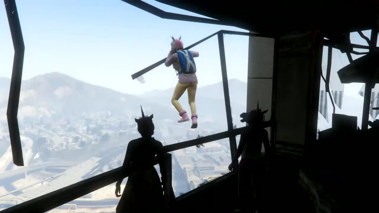 gaming, gtav, king canute, rockstar_editor, xb1, Base jumping out of F.I.B building GIFs