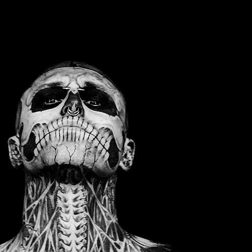 Watch this GIF on Gfycat. Discover more Men, Pale, amazing, b&w, b&w photography, bad but good, beatiful, black and white, bw, bw photography, cute, danger, dark, darkness, gif, good, gorgeous, grunge, handsome, hot, lovely, make up, perfect, piercing, skeleton, skeleton makeup, skeleton men GIFs on Gfycat