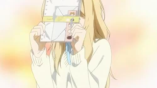 Watch this GIF on Gfycat. Discover more anime, cute, cute girl, japan, japanese, kaori, kousei, kousei x kaori, love, notebook, shigatsu, shigatsu gif, shigatsu spoilers, shigatsu wa kimi no uso GIFs on Gfycat