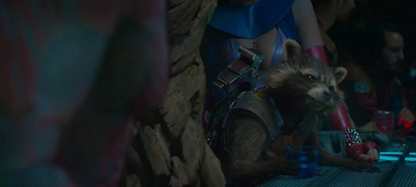 gfycatdepot, That's the first you've said, that wasn't batshit crazy. [Marvel Guardians of the Galaxy 2014 Rocket Racoon Bradley Cooper drink psychopath mental concur agree toast to that alcohol liquor] (reddit) GIFs