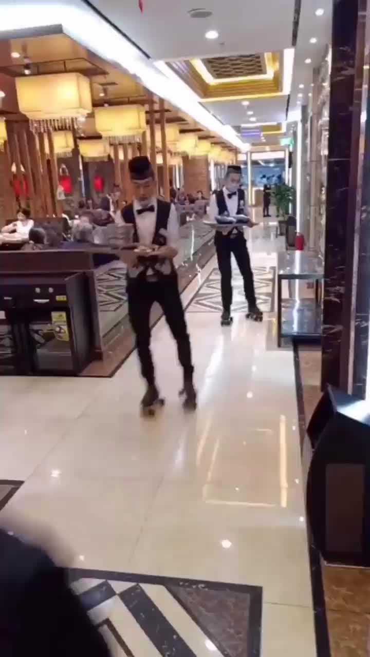 service in skating of restaurant, skating restaurant, service in skating of restaurant GIFs