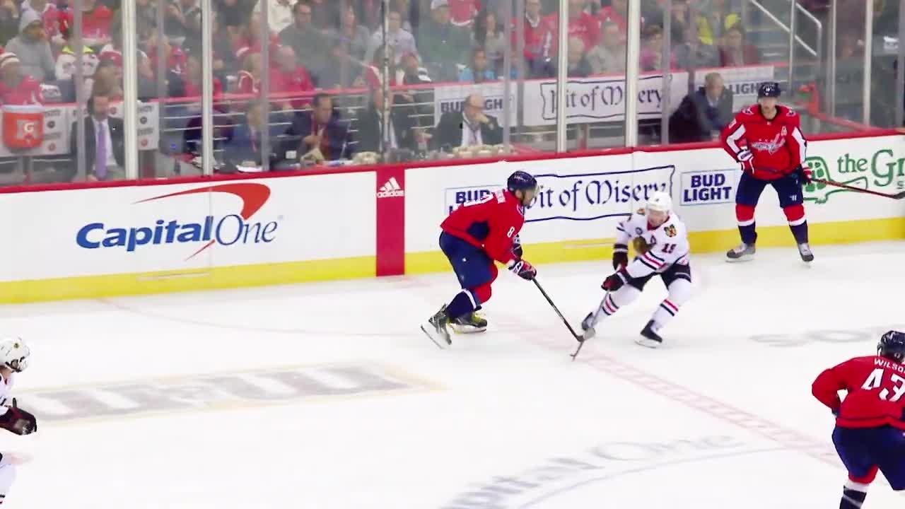 alex ovechkin, hockey, Alex Ovechkin hit on Jonathon Toews GIFs