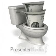 Watch and share ID# 7884 - Money In Toilet Anim - PowerPoint Animation GIFs on Gfycat