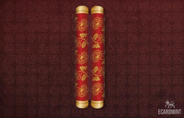 chinese, chinese new year, ecard, hi, lunar new year, message, new year, year of the pig, Chinese New Year Scrolls GIFs