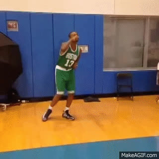 Boston Celtics rookie James Young hitting the stanky leg, Marcus Smart dancing! GIFs