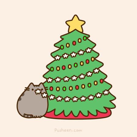cat, cats, christmas, cute, holidays, lights, play, pusheen, pusheen cat, pusheen the cat, star, tree, xmas, Christmas time! GIFs