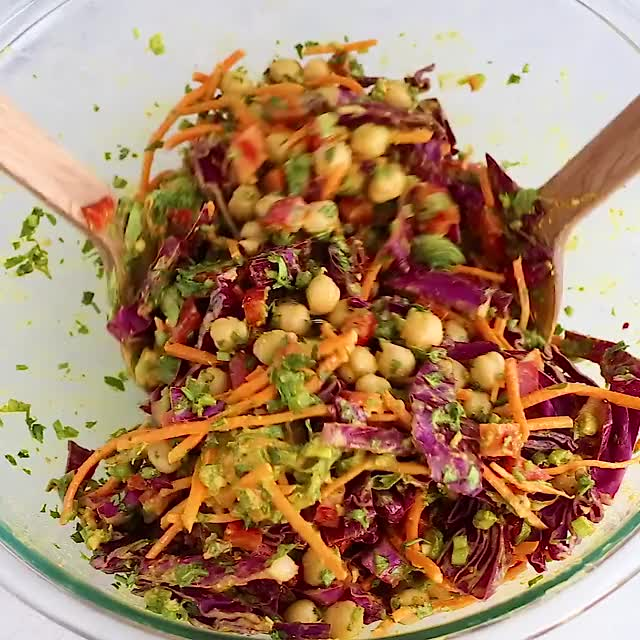 Watch and share Chopped Thai Chickpea Salad With An Addicting Curry Peanut Dressing. A Quick ... GIFs on Gfycat