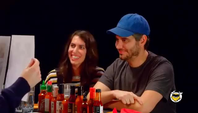 Watch and share H3H3 Productions Does Couples Therapy While Eating Spicy Wings | Hot Ones GIFs on Gfycat