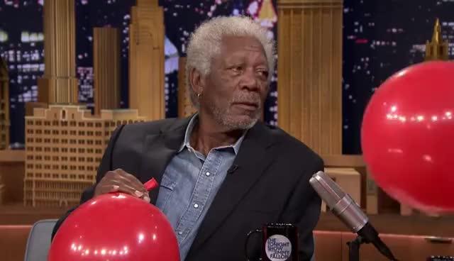 eye roll, fallon tonight, morgan freeman, rolling eyes, the tonight show, Morgan Freeman Chats with Jimmy While Sucking Helium GIFs