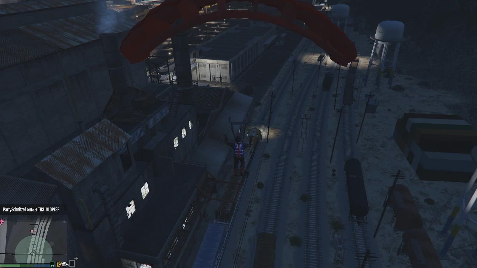 gaming_gifs, gtagifs, gtaonline, GTAOnline   Parachuting to a Train GIFs