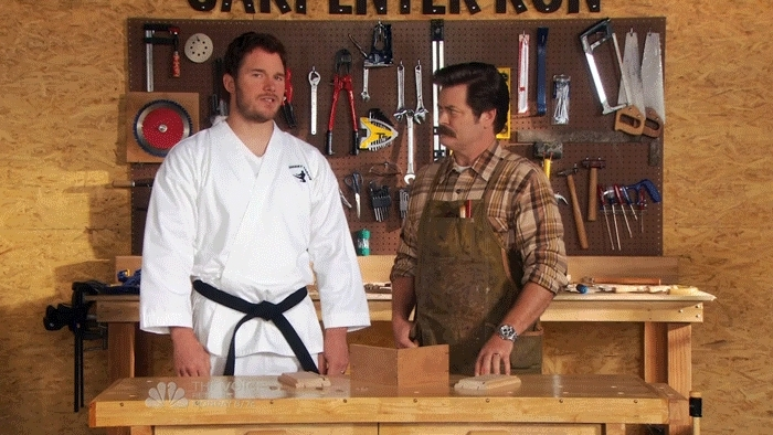 Chris Pratt, PandR, funny, woodworking, Ron Swanson on Hugs GIFs
