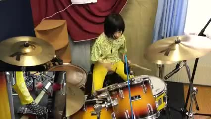 drum, drums, girl, japan, play, Girl playing drums GIFs