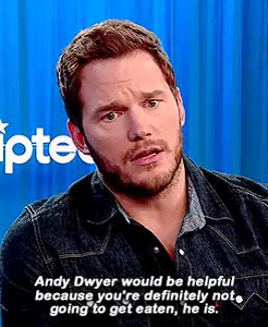 Watch Who would be most helpful in a dinosaur battle: Andy Dwyer,  GIF on Gfycat. Discover more *, Chris Pratt, by leo, jwcast, jwcastedit, marvelcast, marvelcastedit, p:interviews, pratt, prattedit GIFs on Gfycat