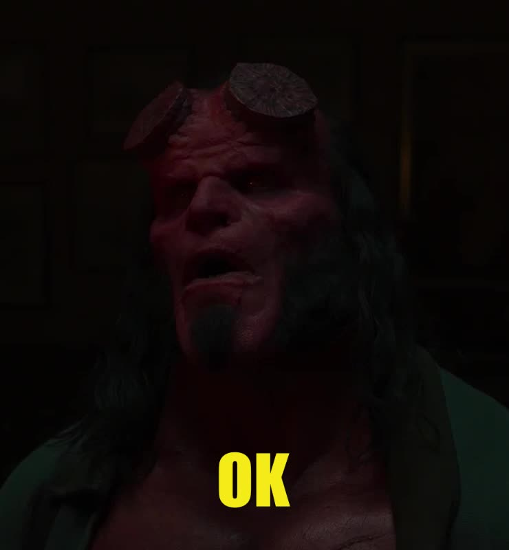 dark horse, dark horse comics, david harbour, hellboy, hellboy 2019, hellboy movie, huh, ok, okay, superhero, superheroes, uh huh, what, yes, Hellboy Ok David Harbour GIFs