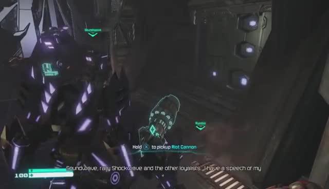 TF Fall of Cybertron, Megatron pets Laserbeak GIFs