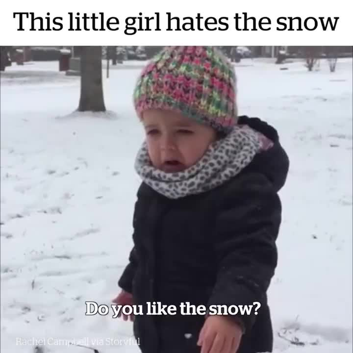 cold, fail, funniest, funny, laugh, prank, video, This little girl hates the snow GIFs