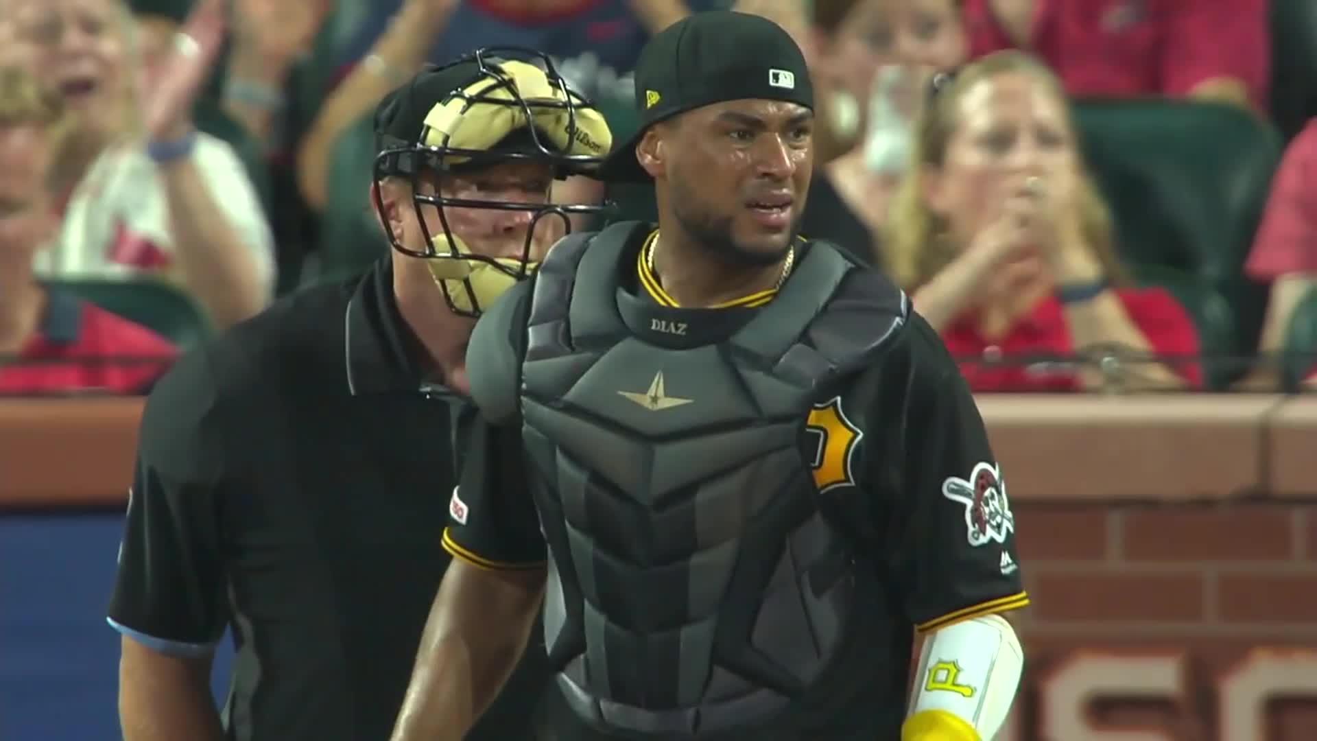 baseball, pirates, pittsburgh, Elias Diaz reacting to safe call. GIFs