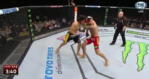 mmagifs, Slick pull back and counter from Dustin Poirer,