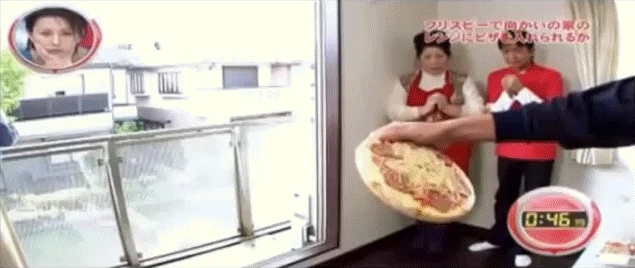 gfycats, Throwing a pizza into an oven from across the street (xpost - /r/japanesegameshows) (reddit) GIFs