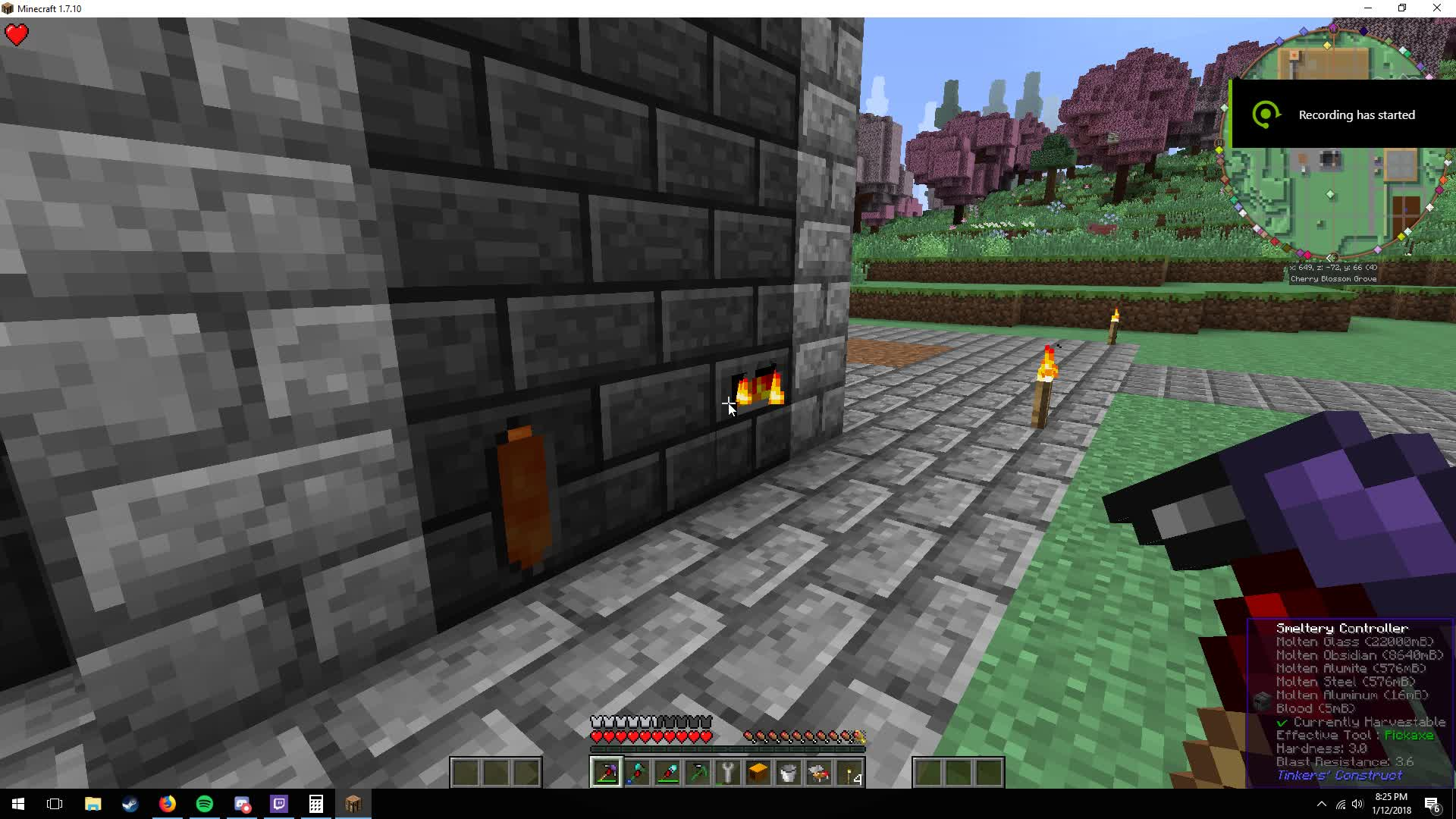 Obsidian pickaxe tinkers