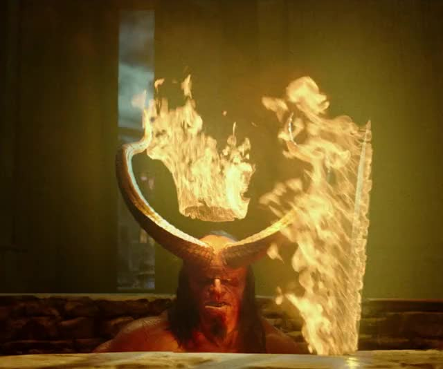Watch this advert GIF by Hellboy (@hellboy) on Gfycat. Discover more dark horse, dark horse comics, david harbour, fire, flames, hellboy, hellboy 2019, hellboy movie, its lit, lit, superhero, superheroes GIFs on Gfycat