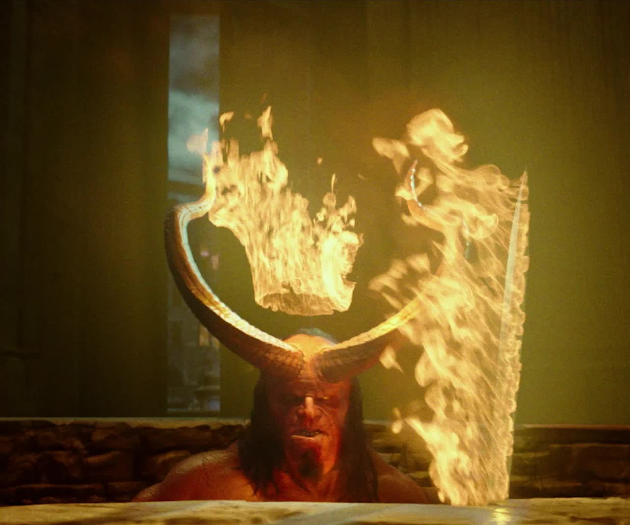 dark horse, dark horse comics, david harbour, fire, flames, hellboy, hellboy 2019, hellboy movie, its lit, lit, superhero, superheroes, Hellboy Emerging Flames GIFs