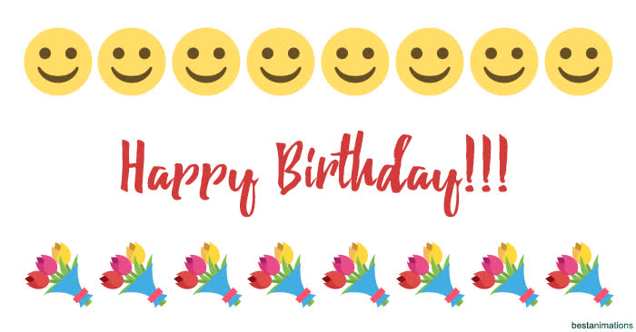 Emoji Smileys Everywhere Cool Kisses Smiles And Laugh Animated Mix For Great Happy Birthday Wishes GIF