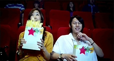 popcorn, waiting, watchthis, Startled and dropping popcorn GIFs