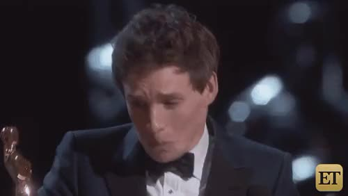 Watch Entertainment Tonight GIF on Gfycat. Discover more Celebs, ET, ETOscars, Entertainment Tonight, GIF, Oscars, Oscars 2015, Run for it, The Theory of Everything, Winners, You're our theory of everything, but seriously though, can't believe it, eddie redmayne, reactions, you're a winner! GIFs on Gfycat
