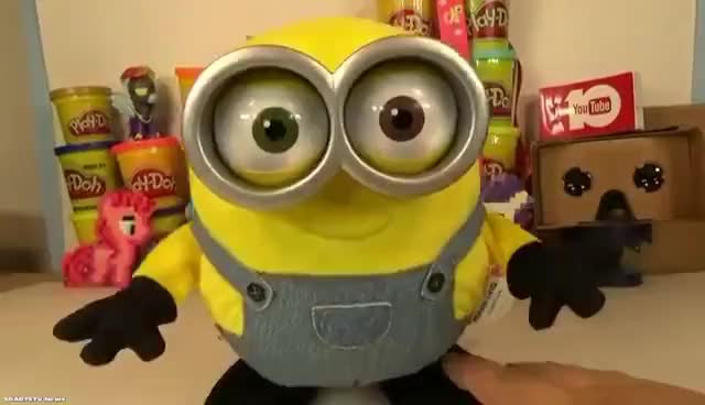 Watch and share Minions Movie Singing Dancing Bob Toy Interactive Minion Toys Toy Unboxing GIFs on Gfycat
