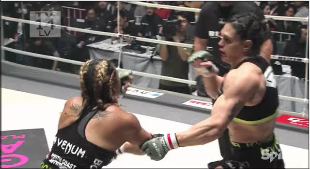 "Watch gif: Gabi Garcia's back fist and TKO of Lei'd Tapa... the back fist looks sort of ridiculous, but it actually works pretty well as unpredictable reset in the same vein as the ""closing the door""/returning with the left hook (reddit) GIF on Gfycat. Discover more mma, nonewsmma GIFs on Gfycat"