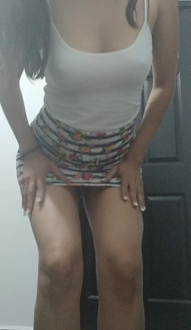 Short skirt, no panties. A little from front side now