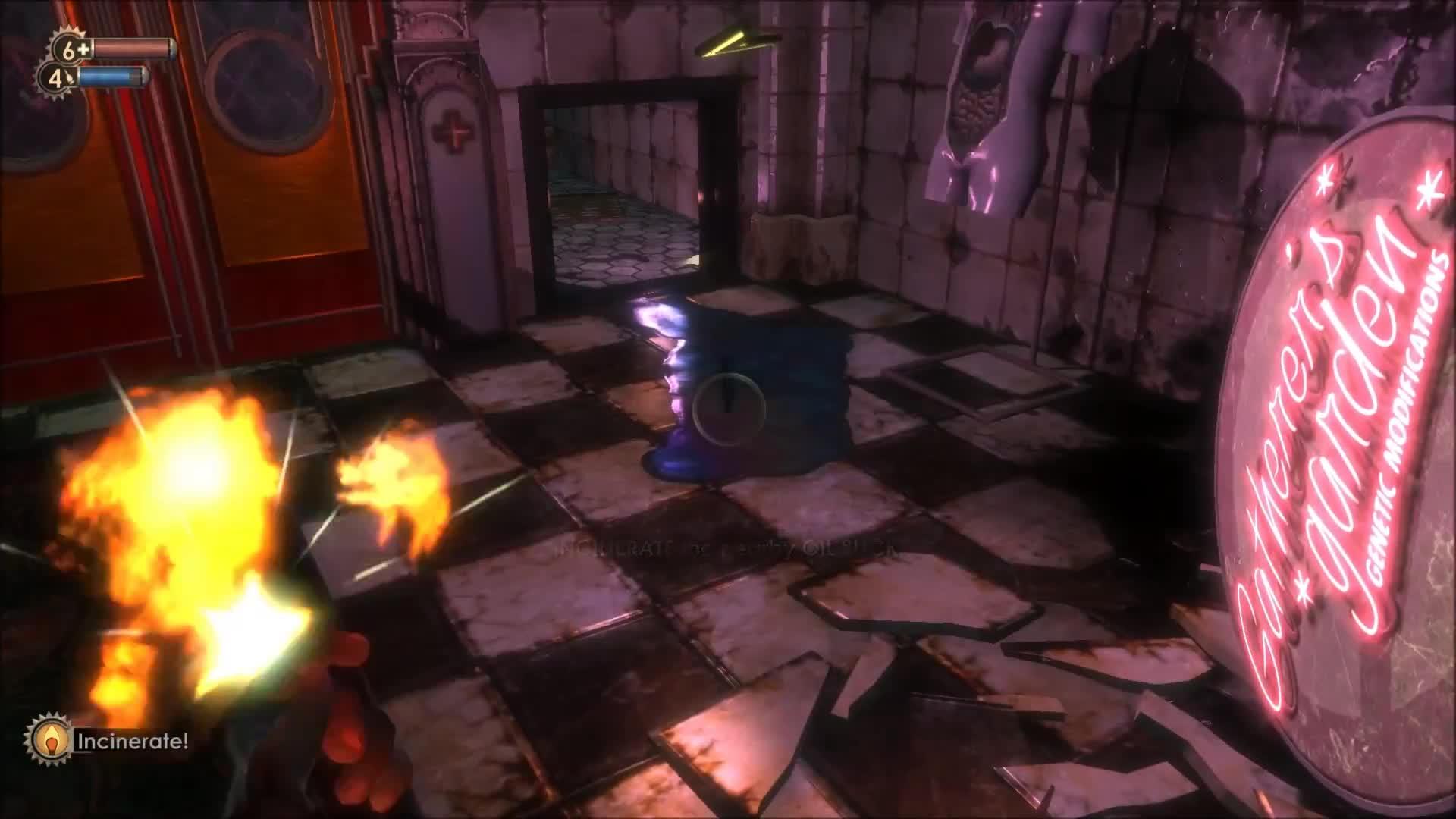 Adam, BioShock (Video Game), Bioshock, Eve, Finding, Fire, Gun, Health, Incinerate, Plasmid, Bioshock - Finding Incinerate GIFs