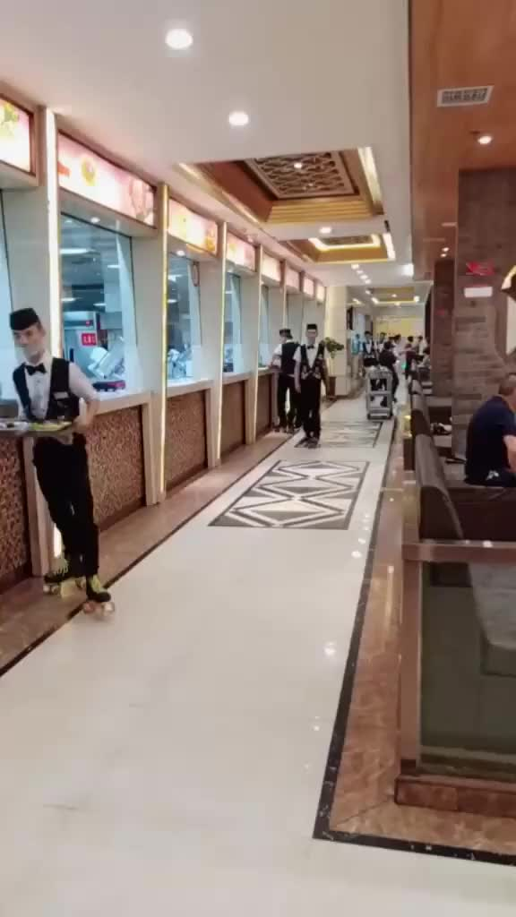 Watch and share Roller Skate Waiters GIFs on Gfycat