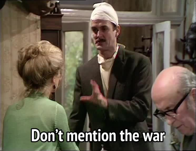 basil fawlty, fawlty towers, john cleese, war, world war, Fawlty Towers S01E06 - Don't mention the war GIFs